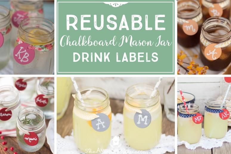 DIY Reusable Chalkboard Mason Jar Drink Labels - The