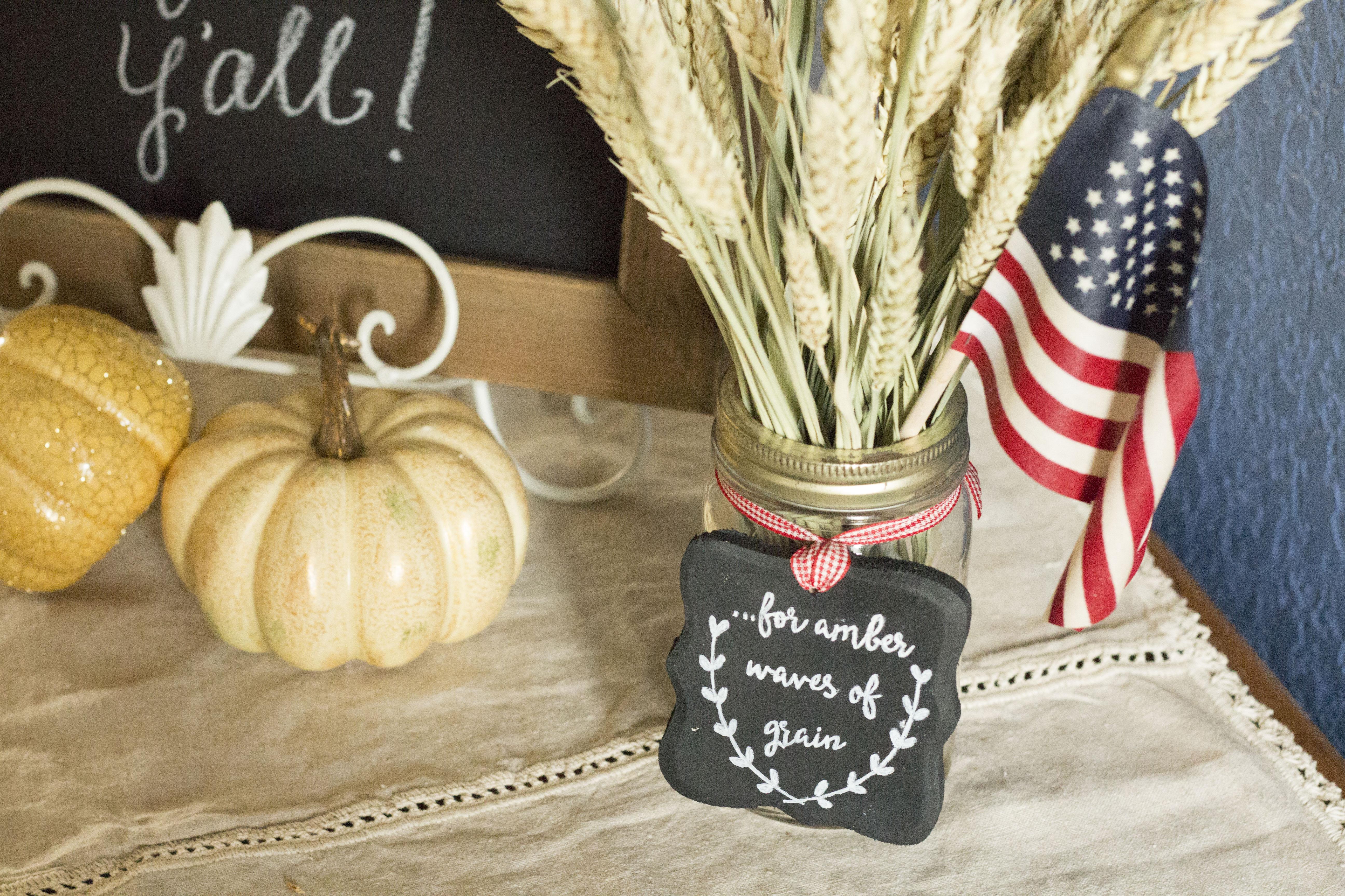 DIY Patriotic Fall Wheat Centerpiece
