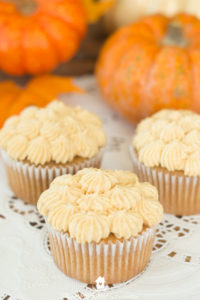 apple butter cupcakes with pumpkin buttercream frosting