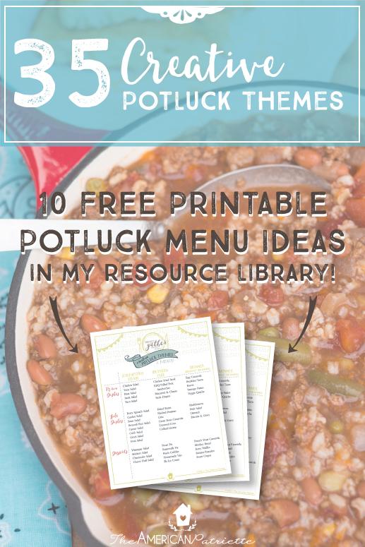 35 Creative Potluck Themes + 10 Free Printable Potluck Menu Ideas