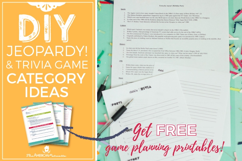 photo about Free Printable Left Right Birthday Game named Class Strategies for Do it yourself Trivia or Jeopardy Game titles (with free of charge