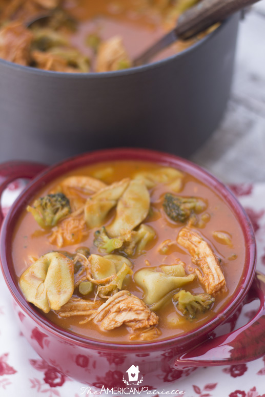 Easy Roasted Red Pepper, Tortellini, Chicken, and Broccoli Soup