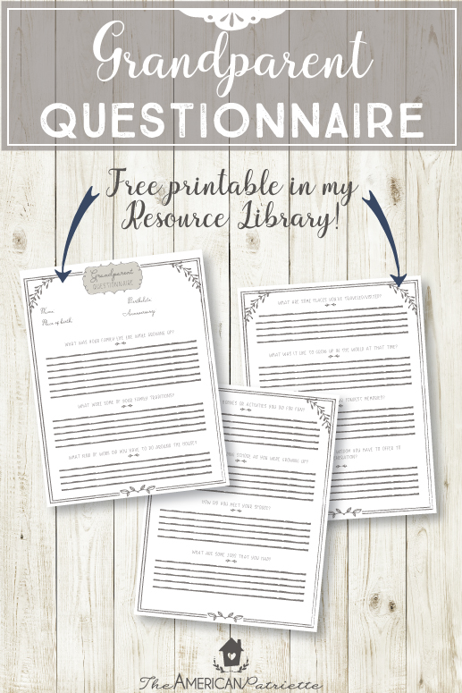 Grandparent Questionnaire - Have Grandparents Write down Memories and Advice for their Grandkids