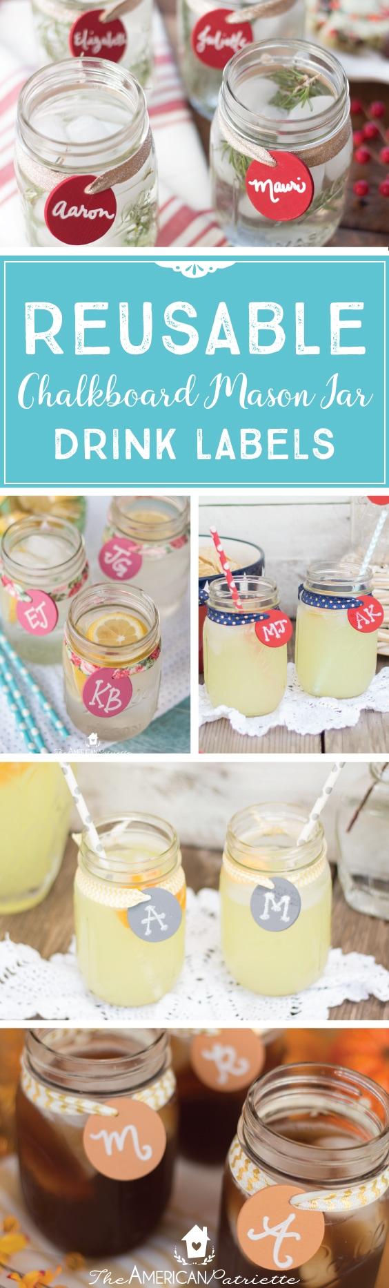 Reusable Chalkboard Mason Jar Drink Labels