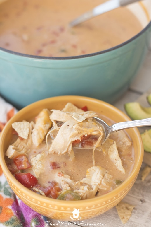 King Ranch Chicken Soup in Pioneer Woman Dutch Oven