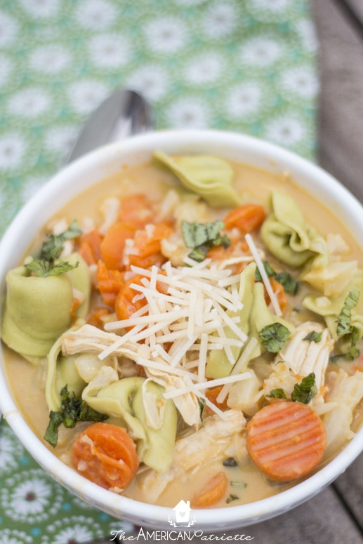 One Pot Easy and Creamy Chicken & Tortellini Butternut Squash Soup - Simple and Healthy Weeknight Meal; Delicious Soup for Last-Minute Company