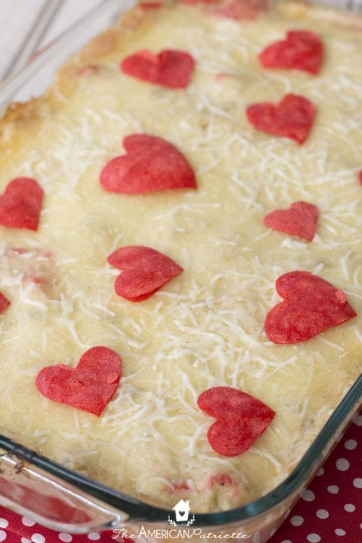 Cheesy and Creamy Valentine Enchilada Casserole