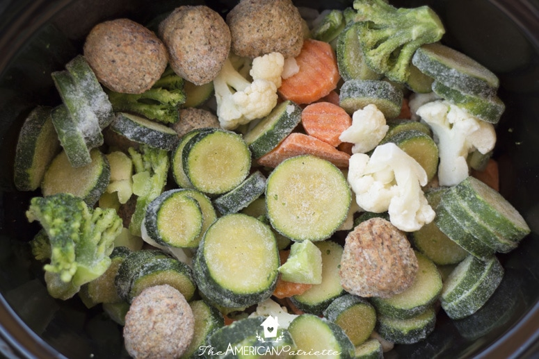 No Prep Slow Cooker Meatball and Vegetable Soup - Easy and Healthy Weeknight Dinner; Simple Main Dish Recipe