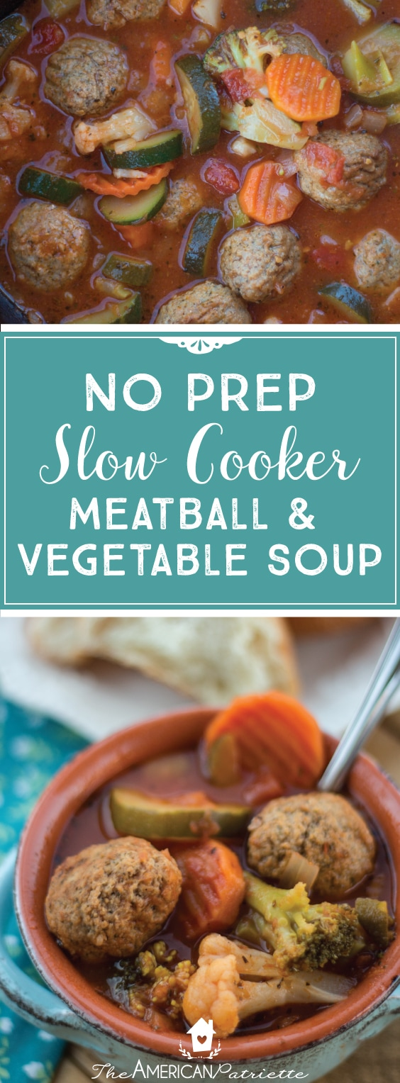 No Prep Slow Cooker Meatball Soup - Easy and Healthy Weeknight Dinner; Simple Main Dish Recipe