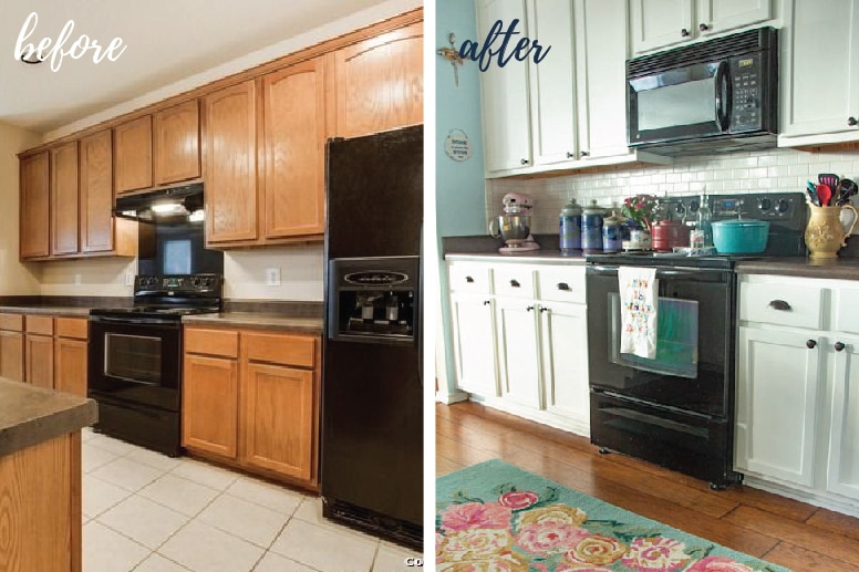 Before And After Photos Of Diy Painted White Kitchen Cabinets 03