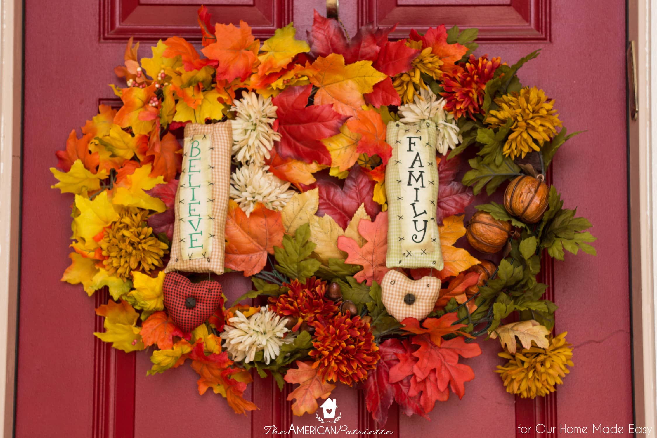 A colorful seasonal wreath is a great way to add color to your front porch