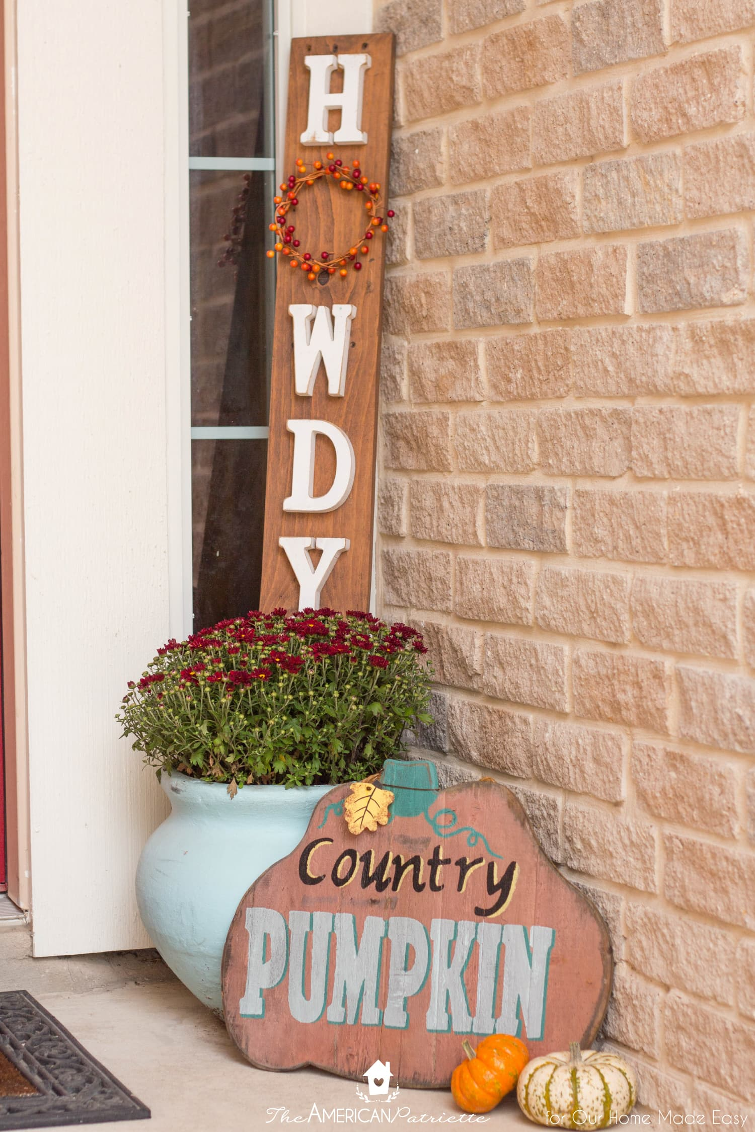 Seasonal signs are simple ways to add color to your front porch decor