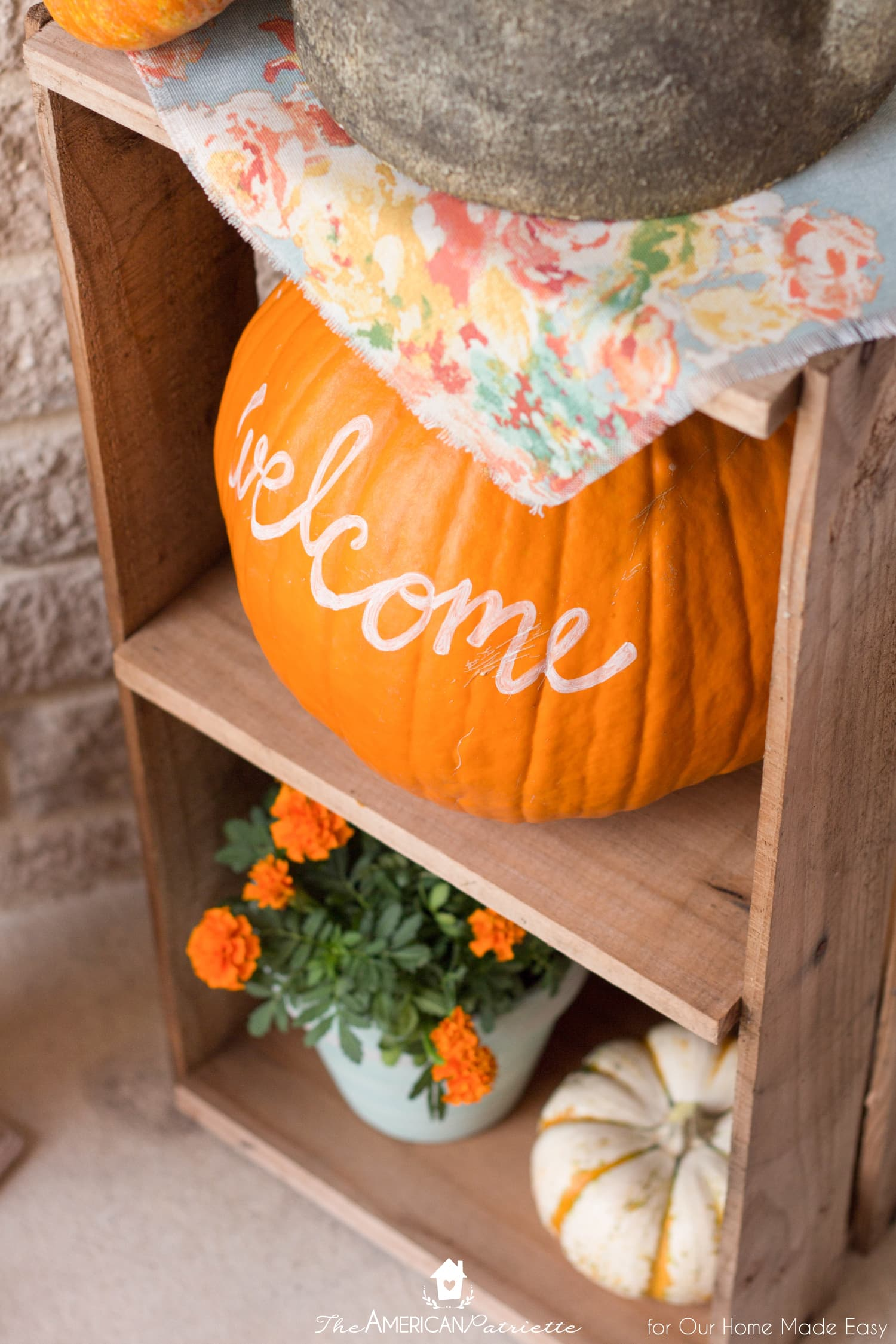 Bright pumpkins are always a sure way to add color to a fall front porch