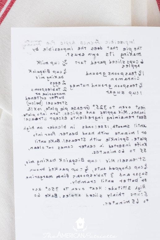 Easy DIY Handwritten Recipe on Christmas Flour Sack Towel - The